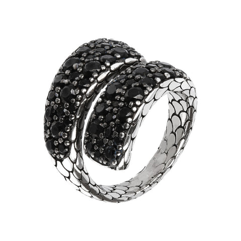 textured contrariè ring with black spinel gemstone  - WSOX00132