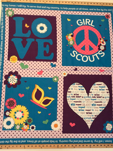 On Sale! Riley Blake Designs Blue Girl Scout Panel 100% Cotton