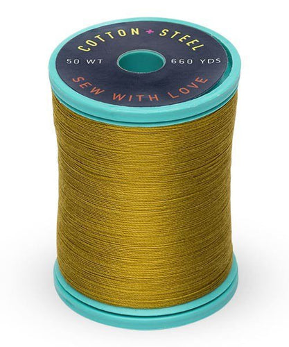 Cotton + Steel Thread by Sulky ~ Dark Gold Green ~ 50wt ~ 660yds ~ 100% Cotton