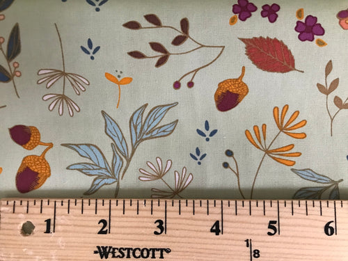 Acorns and Pinecones Mint ~ Autumn Vibes Collection ~ Maureen Cracknell for Art Gallery Fabrics 100% Cotton