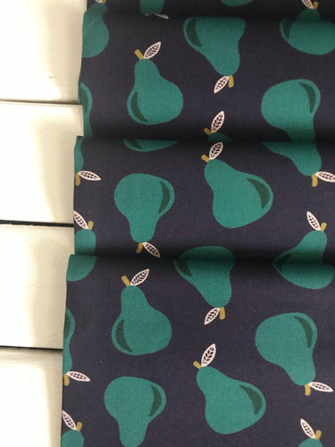 Pears Navy ~ Fruity Collection ~Maja Ronnback for Paintbrush Studio Fabrics 100% Cotton