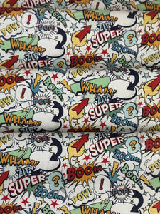 Super Hero White  ~ Novelty Collection from Riley Blake Designs 100% Cotton