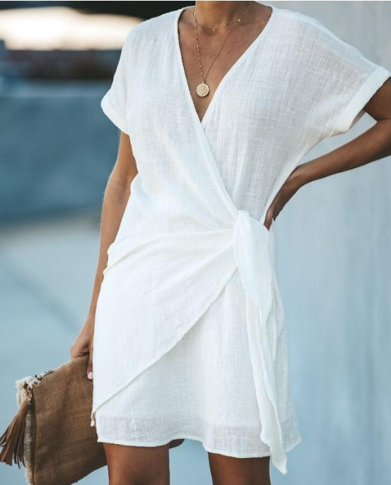 V-Neck Short Sleeve Casual Mini Wrap Dress