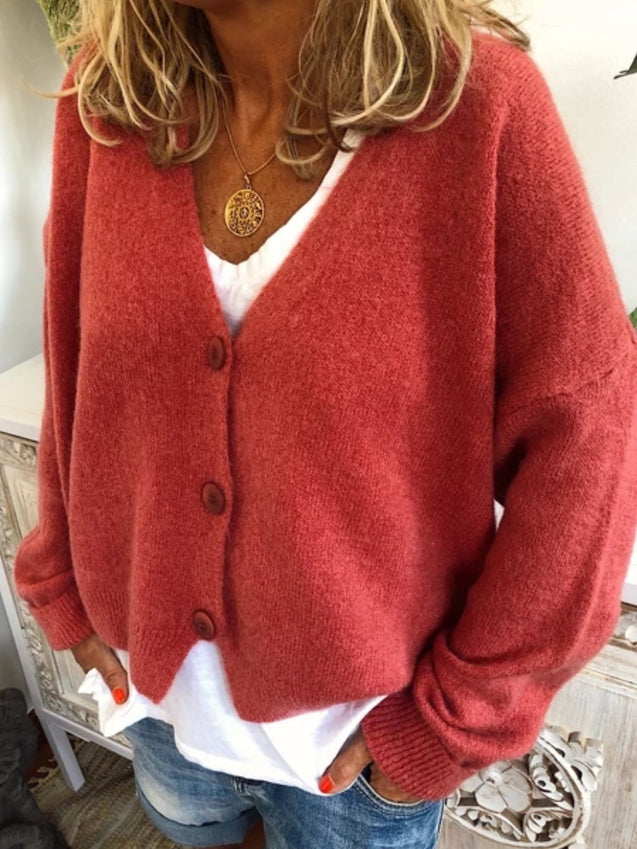 V Neck Buttoned Casual Tunic Sweater Cardigan