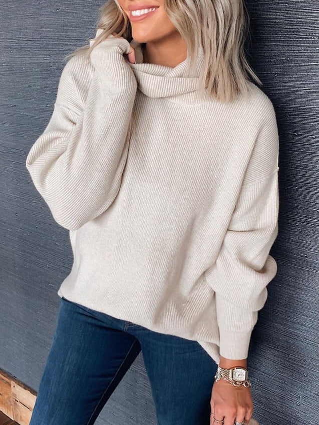 Solid Casual Cowl Neck Tunic Sweater