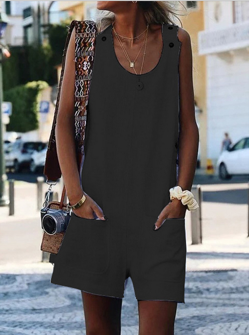 Round Neck Sleeveless Patch Pocket Romper