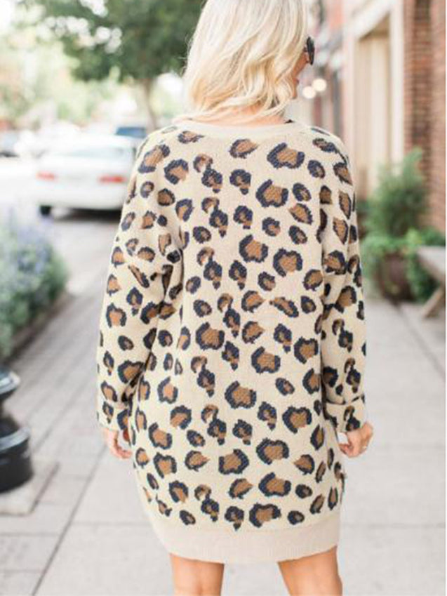 Sexy Leopard Printed Round Neck Cardigan