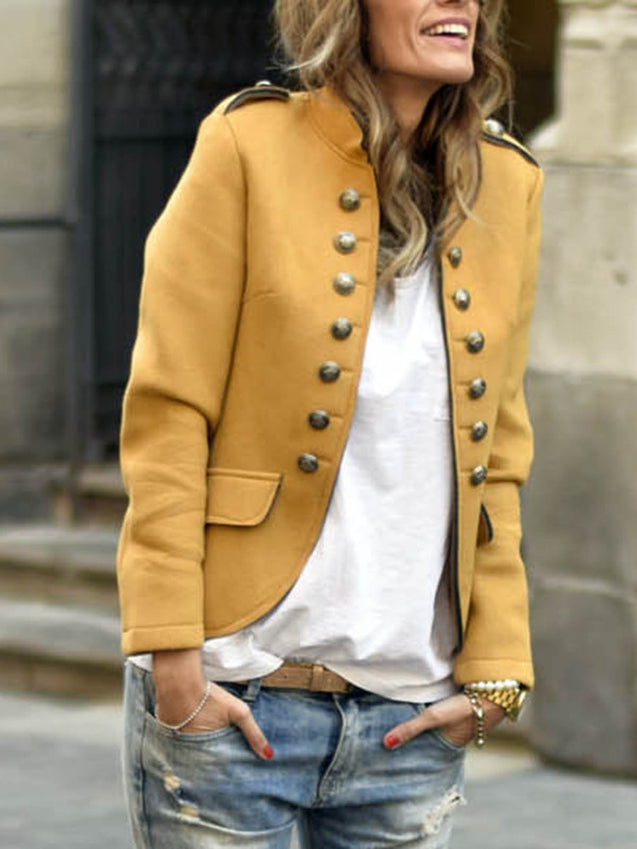 Long Sleeve Stand Collar Buttoned Coat