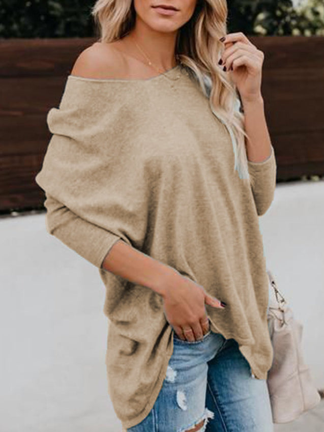 Plus Size Casual Solid One Shoulder Top