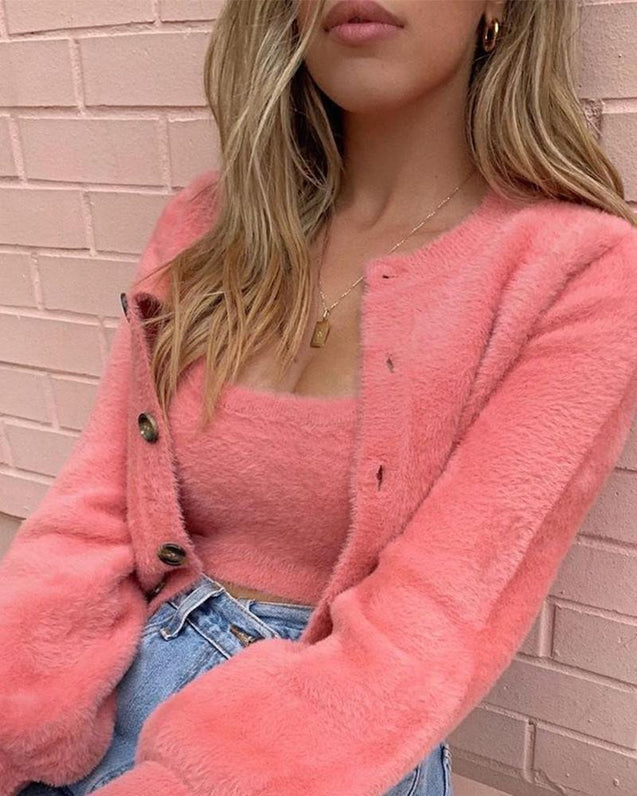 Warm Fluffy Long Sleeve Coats & Tank Top Sets