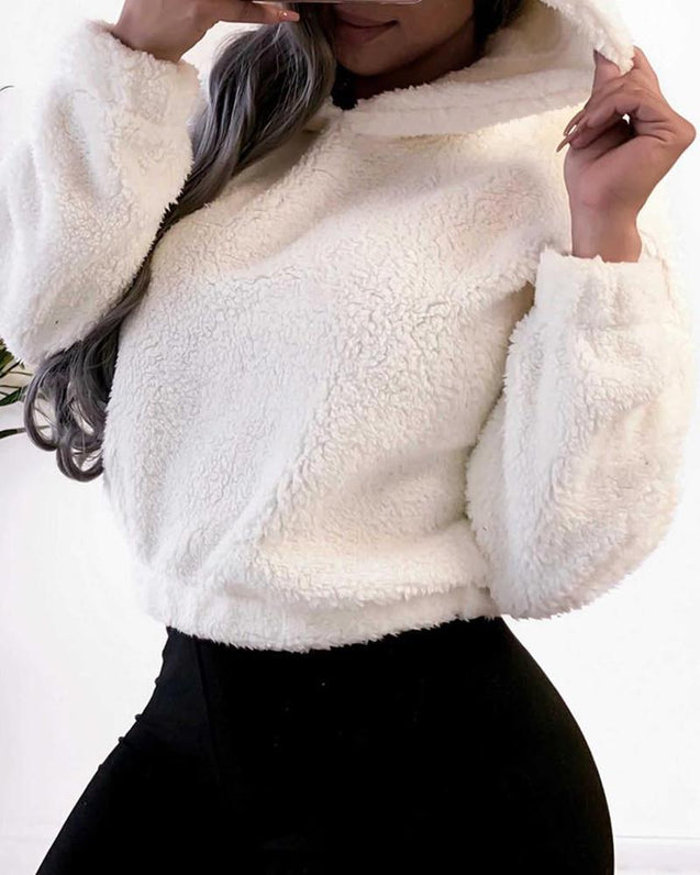 Solid Hooded Long Sleeve Fluffy Sweatshirt