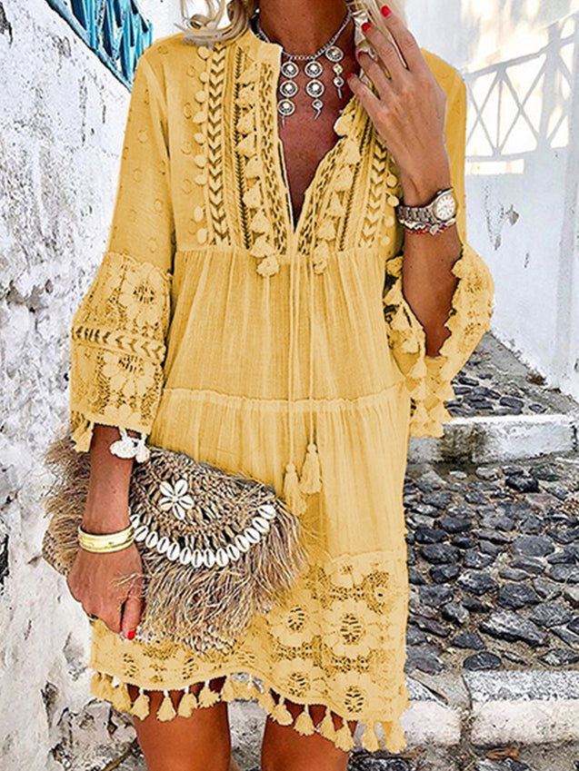 Solid 3/4 Sleeve V Neck Boho Midi Dress