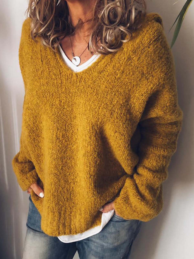 V Neck Knitted Casual Hoodie Sweater