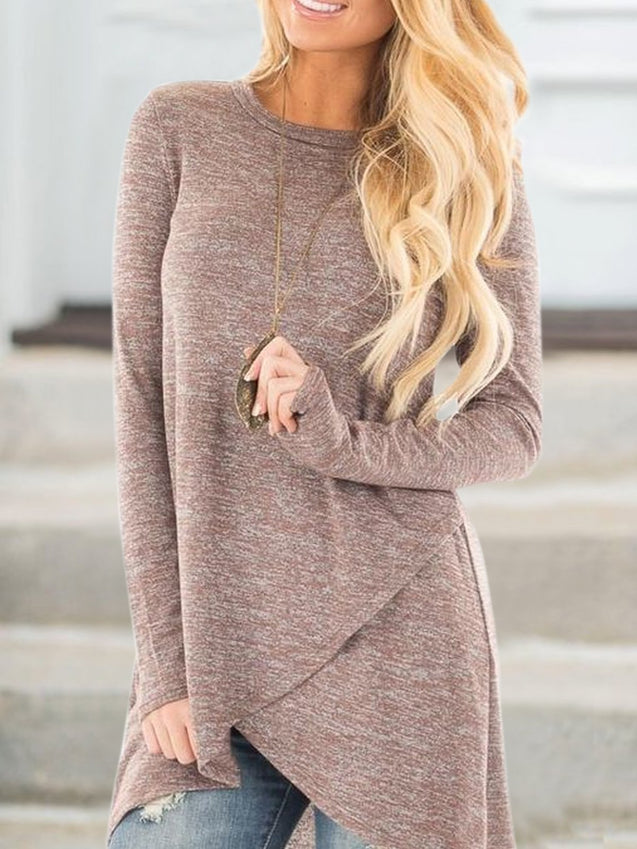 Crew Neck Solid Casual Wrap Top
