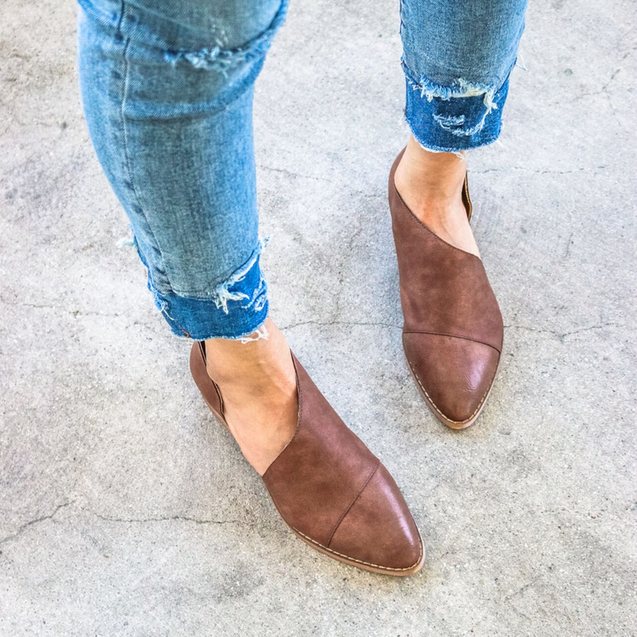 Pointed Shallow Flat Loafers Sole Shoes