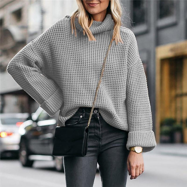 Casual Solid Loose High Neck Knit Sweater