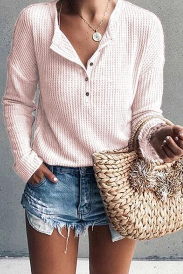 Solid Jewel Neck Long Sleeve Knitted Shirt