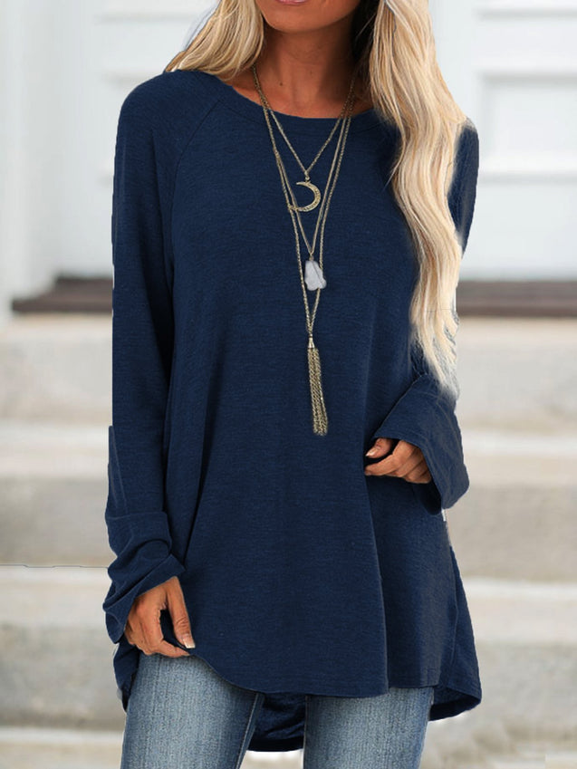 Casual Crew Neck Solid Tunic Top