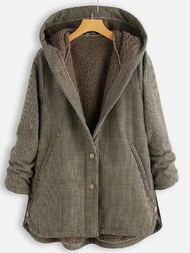 Grid Buttoned Casual Hooded Coat