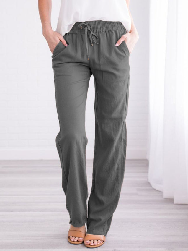 Plus Size Solid Casual Straight Pants