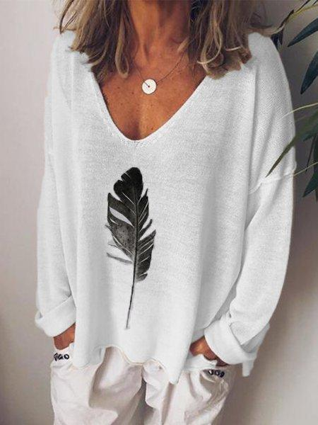 Long Sleeve Casual Feather Print Tunic Top