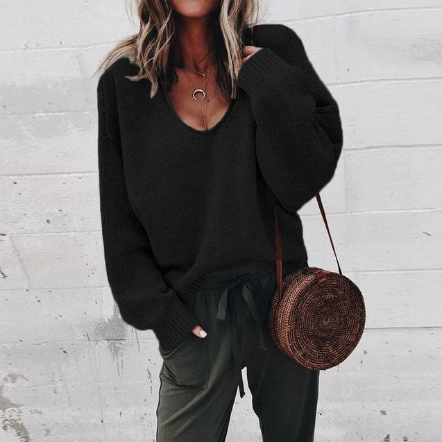 Casual V-Neck Solid Loose Sweater