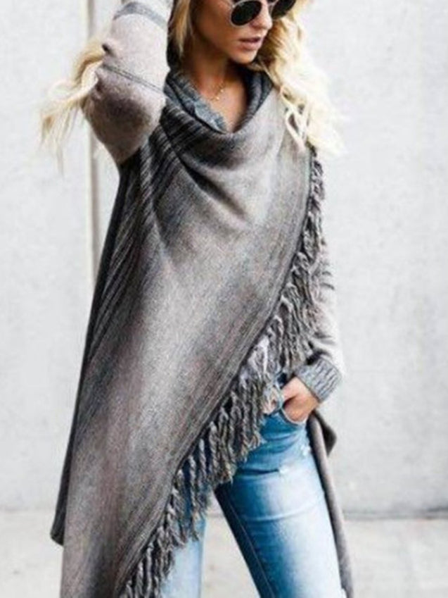 Long Sleeve Knitted Fringed Sweater Top