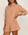 Long Sleeve Button Up Loose  Romper