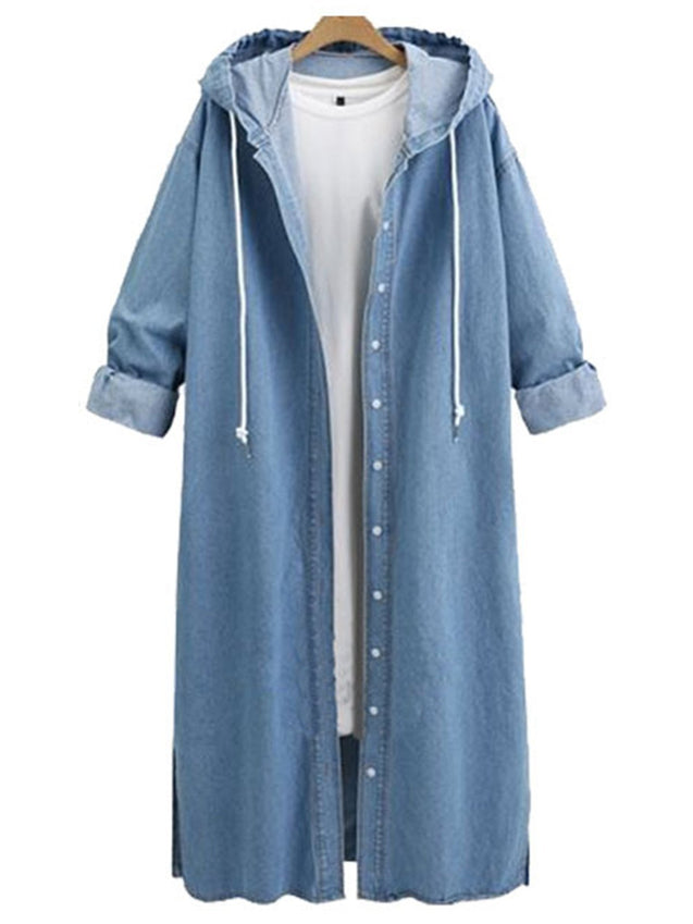 Casual Hoodie Denim Buttoned  Coat