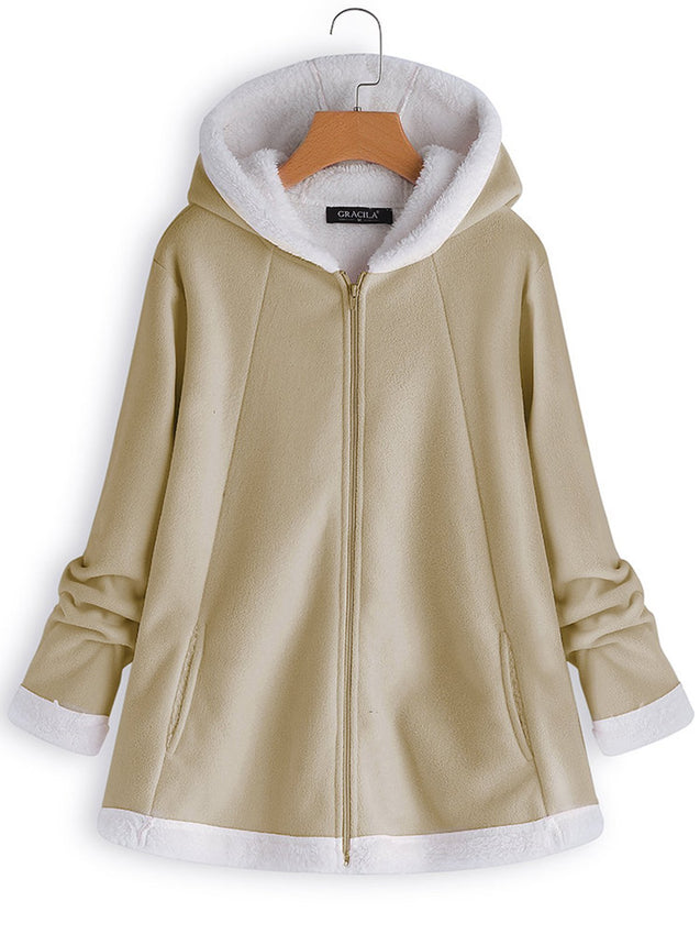 Solid Casual Long Sleeve Mohair Hooded Coat