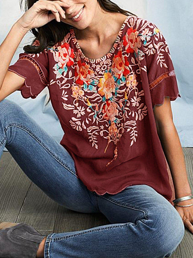 Round Neck Floral Casual T-Shirts & Tops-Top-Wotoba-Red Brown-S-Wotoba