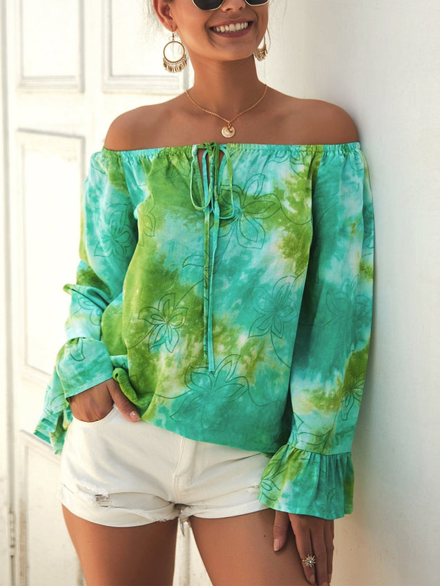 Camo Print Off Shoulder Ruffle Cuff Blouse