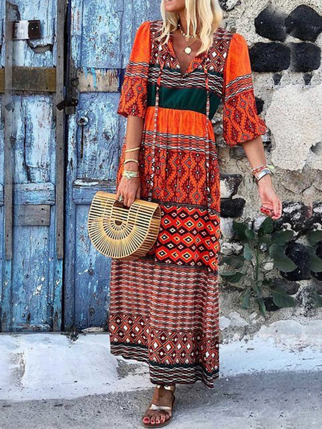 Boho V Neck Printed Maxi Dress