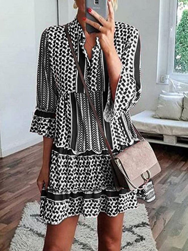 Print Splice Ruffle Sleeve A-Line Mini Dress