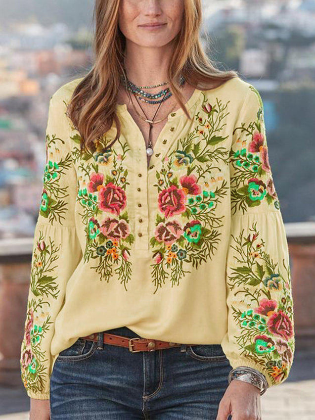 Casual Floral V Neck Long Sleeve Shirts & Tops-Top-Wotoba-Yellow-S-Wotoba
