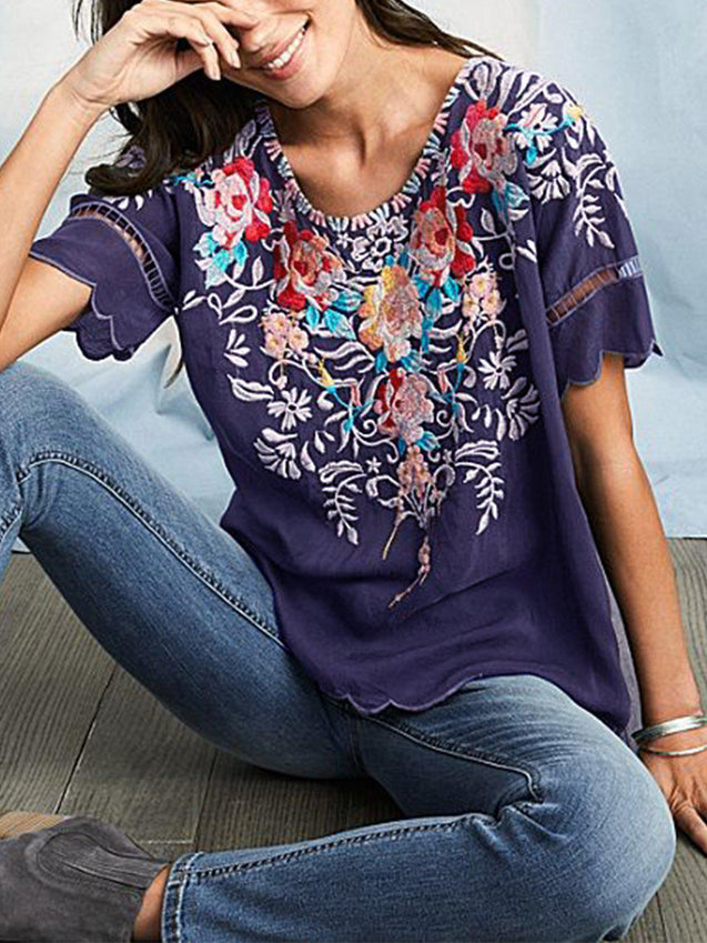 Round Neck Floral Casual T-Shirts & Tops-Top-Wotoba-Blue-S-Wotoba