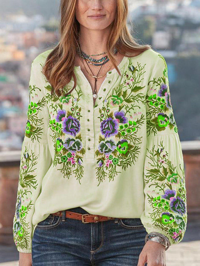 Casual Floral V Neck Long Sleeve Shirts & Tops-Top-Wotoba-Green-S-Wotoba