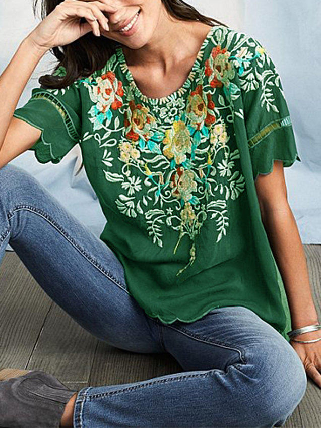 Round Neck Floral Casual T-Shirts & Tops-Top-Wotoba-Green-S-Wotoba