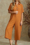 Solid Short Sleeve Casual Wide Leg Jumpsuit