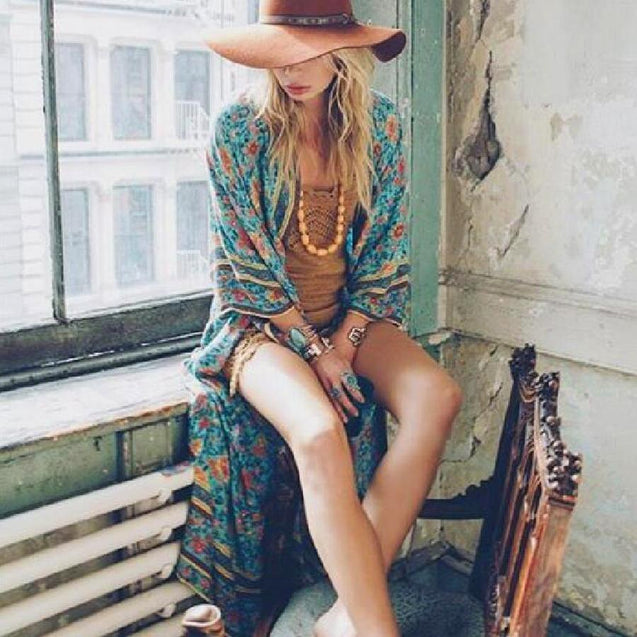 Floral Print Boho Wrapped Dress - mookyboutique