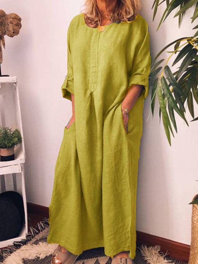 Solid Plus Size Casual Loose Maxi Dress