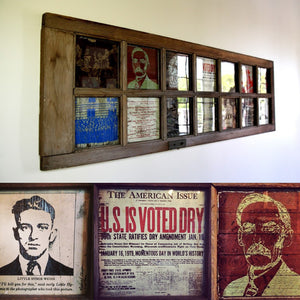 On permanent display at The Compass in Carlsbad Ca., this large scale prohibition themed French door commission has prohibition imagery engraved into repurposed woods which peek out from under framed glass panes to welcome their thirsty patrons.