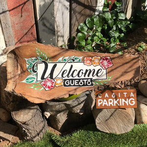 Custom Engraved Palm Tree Frond Welcome Sign for a Bead & Breakfast in Vista, Ca.