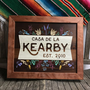 Custom Engraved Repurposed Wood Family Sign for the Kearby family in Seattle, Washington.