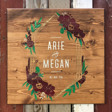 Load image into Gallery viewer, Custom large scale Wedding Keepsake on repurposed wood with a floral frame.