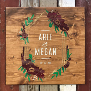 Custom large scale Wedding Keepsake on repurposed wood with a floral frame.