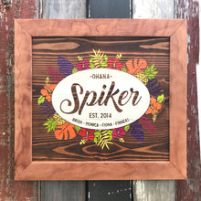 Load image into Gallery viewer, Custom Engraved Repurposed Wood Family Sign for the Spiker family in Vista, California