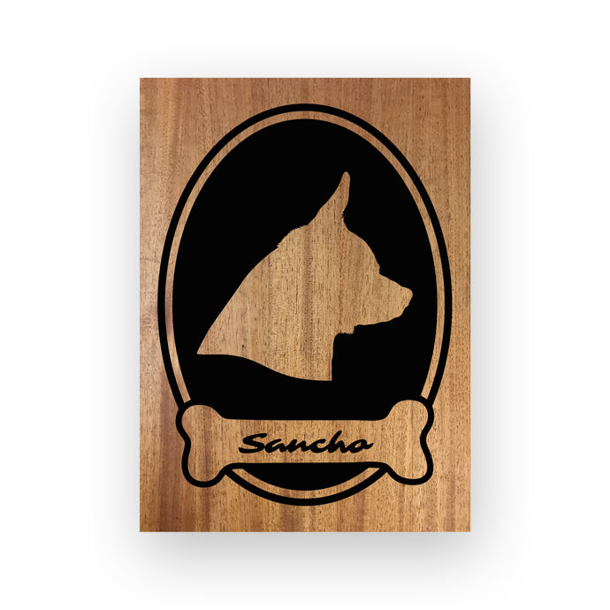 Doggy Engraved Wood Pet Silhouette by The Beach tree