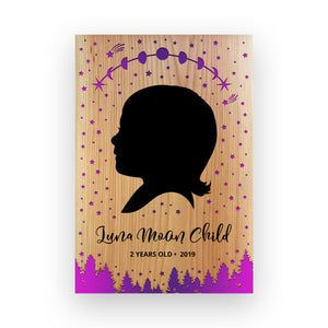 "11""x16"" Personalized Engraved Wood Child Silhouette - Luna Moon"