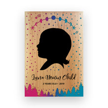 "Load image into Gallery viewer, 11""x16"" Personalized Engraved Wood Child Silhouette - Luna Moon"